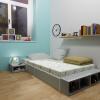 giường đơn ngăn kéo xám 2m2